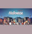 kids wearing monsters costumes walking night town vector image vector image