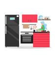 kitchen interior flat style design vector image