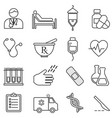 medical health healthcare line icons vector image vector image