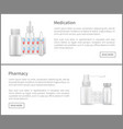 medication and pharmacy web banners remedy set vector image vector image