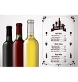 Menu template - for alcohol with three realistic vector image vector image