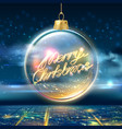 merry christmas poster tree ball city sky vector image vector image
