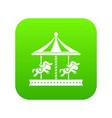 merry go round horse ride icon digital green vector image vector image