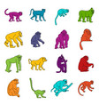 monkey types icons doodle set vector image vector image