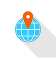 pin on globe icon flat style vector image