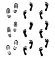 prints of human feet and shoes vector image vector image