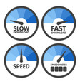 round speedometers set with slow and fast speed vector image vector image