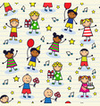 seamless festive background with children vector image vector image