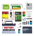 set batteries primary cells power bank vector image