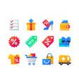shopping - set flat design style icons vector image
