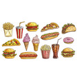 sketch fast food meals engraving retro signs set vector image vector image