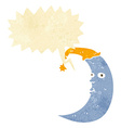 sleepy moon cartoon with speech bubble vector image vector image