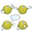 Thinking tennis ball set vector image vector image