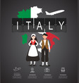 traveling to italy with map infographic vector image