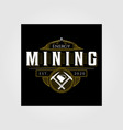 vintage mining logo emblem badge retro design vector image vector image