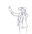 woman wearing 3d headset virtual reality vector image vector image