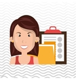 woman with folder and clipboard isolated icon vector image