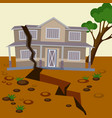 earthquake damaged house and ground splitted in vector image