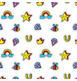 seamless pattern with kids patch badges vector image