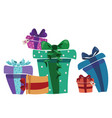 a bunch christmas gifts gift box with ribbon vector image vector image