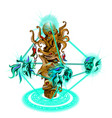 a magical statue in form sea creatures vector image