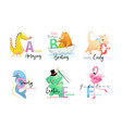 animals school alphabet collection for reading vector image