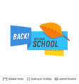 autumn orange leaf and welcoming text vector image vector image