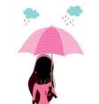 beautiful woman with umbrella polka dots vector image vector image