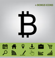 bitcoin sign black icon at gray vector image vector image
