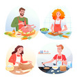 cartoon man woman characters in chef aprons vector image vector image