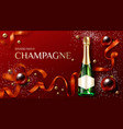 champagne bottle on decorated christmas background vector image