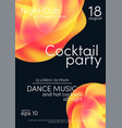 cocktail party poster music poster background vector image vector image