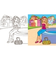Colouring Book Of Girl Hold Dove vector image vector image