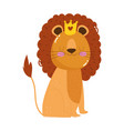 cute animals lion with crown cartoon isolated icon vector image