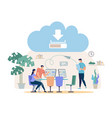downloading files from online cloud concept vector image vector image