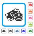 euro cash money framed icon vector image vector image