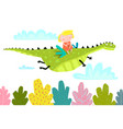 fairy tale dragon fly with little girl vector image