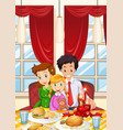 family having meal on dining table vector image