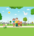 Family in city park flat design