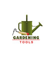 farmer gardening watering can and hoe icon vector image