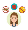 female athlete with healthy lifestyle icons vector image