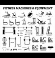 fitness cardio and muscle building machines vector image vector image