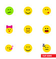 flat icon gesture set of wonder asleep hush and vector image vector image