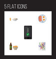 flat icon oneday set of fried egg beer with chips vector image vector image
