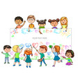 funny cartoon children of different nationalities vector image vector image