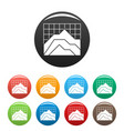 graph icons set collection circle vector image vector image