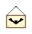halloween hanging wood sign board with bat vector image vector image