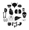internal organs black simple icons vector image