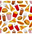 Junk food seamless pattern with fastfood dinner vector image vector image