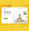 landing page template of home yoga vector image vector image